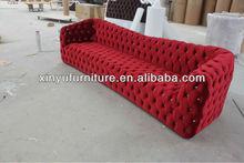 Red velvet fabric KTV lobby club sofa A80895