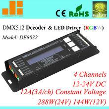 4 channels DMX Decoder & Driver RGBW LED Controller 12A/288W DE8032