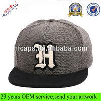2013 winter fashion tweed wool snapback hat flat peak 5 panel snapback hat