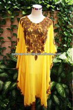 Superb Fancy Moroccan Yellow Chiffon Unique Paisley Patern Embroidery Tunic Dress For Women's 2013