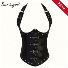 Punk girls sexy strapless bustier top corset full body leather corset