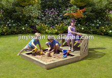 New Rustic Wooden Sandbox with Bench and cover / Sandpit