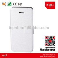 Bling white pu leather flip cover case with hard pc case
