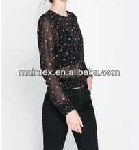 PRINTED BLOUSE WITH ELASTICATED WAIST