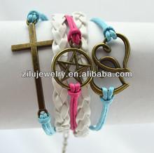 Cross,star, two hearts charms Pink women's bronze leather bracelet