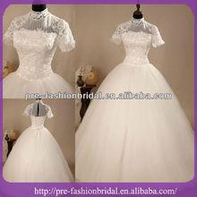 Real de la muestra imagen imperio manga de la tapa de bola vestido de encaje de alta- cuello vestido de boda musulmana