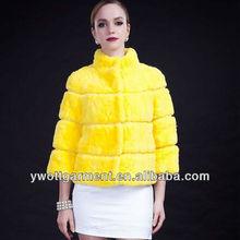 Black fur jacket with 3/4 sleeve,rabbit fur coats