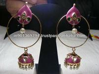 Round Pink Earrings
