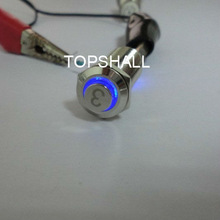 12mm illuminated metal push to exit button switch with high flat button etched