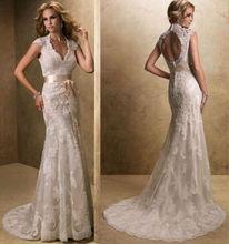 Lace Wedding Dresses with Keyhole Back