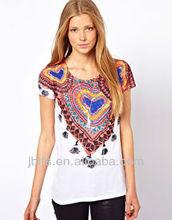 beautiful customize printing women t shirt 2015