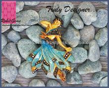 Gold Plated Silver Lady Pendant Cum Brooch with Single Cut Diamond Blue Enamel Code 345