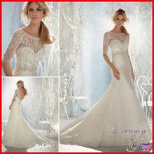 Custom-made Half Sleeves Open Low Back Beaded Satin Wedding Gown 2014
