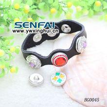 2014 HK Fair Metal Button Bracelet Custom Charm Button Bracelet diy leather bracelet