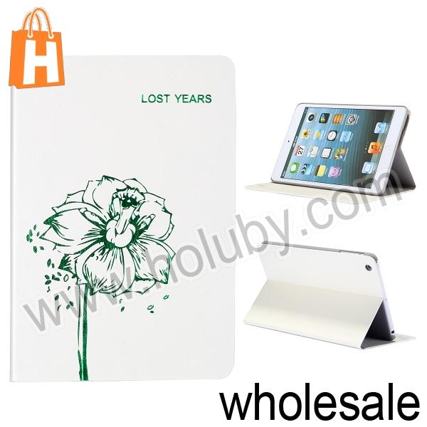 New Arrival Crazy Horse Pattern Flower Design Stand Flip Leather Case for iPad Mini Retina/iPad Mini