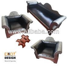 Moroccan Leather Sofa Set EXXOT-WSOFA001-3+1+1