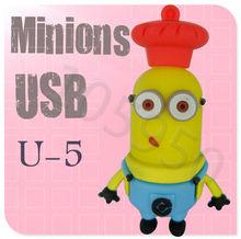 Hot sale U5 Despicable Me 2 Minions Cartoon U Disk 256MB 4GB 8GB 16GB 32GB 64GB USB 2.0 Flash Memory Stick Gift USB Flash Drive