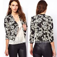 Ladied fashion design floral oriental jacquard black jacket made in China