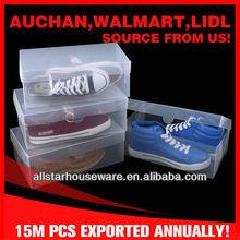 Folding clear PP plastic flip lid shoe box set 4pcs pack