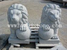 white granite animal status / European style lion carving