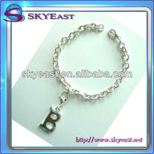 Silver Metal Bracelet Attached DIY Shiny Letter Charms