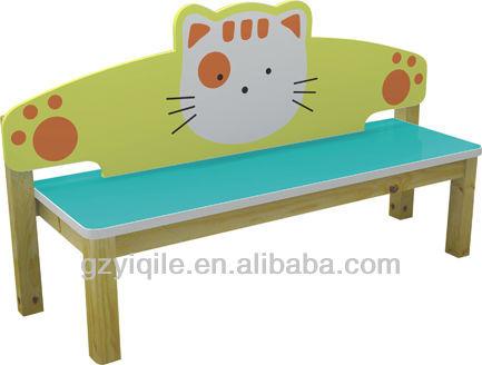 little cat design kids wooden bench