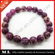 2014 New Purple Marbled Stone Bead Bracelet MLAS-019