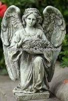 Modern kneeling statue semi precious stone angel statue
