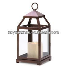 Burnished Copper Contemporary Hanging Lantern Candle Holder Stand