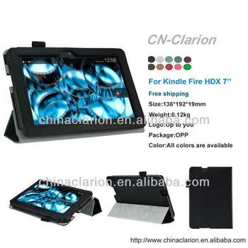 3 Folds PU Auto Wake Sleep Funtion Leather Case For Kindle Fire HDX 7