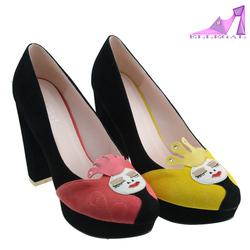 2014 girls pink smile face high heels platform dress shoes