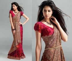 Attractive Red Pink Designer Shiffli Work Saree