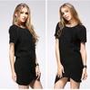 wholesale factory manufacturer black Asymmetrical dress for lady,short sleeve
