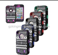 3-Piece multicolor New Aztec Tribe Tribal Hybrid High Impact Hard Case for iPhone 4 4s 5 5S with screen protector