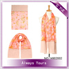 Pink Chiffon Flower Printed Long Head Scarf