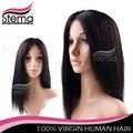 de moda la tapa de seda sin cola stock brasileño virgen del pelo humano peluca