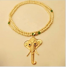 2014 new products hot sale vintage coral beaded rosary cute elephant pendant necklaces