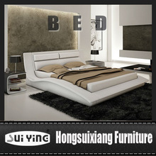 SY A042 beige&chocolate Leather Modern Platform Bed