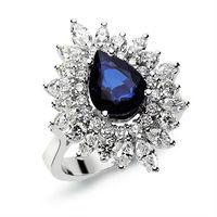 Diamond sapphire ring 18K white gold jewelry