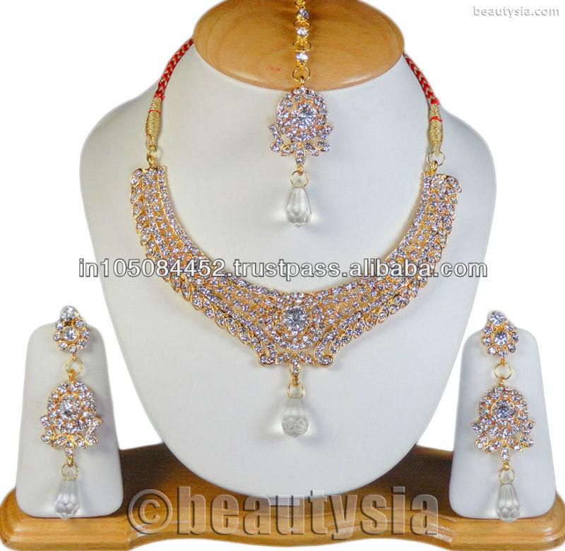 Bollywood designer indian fashion jewellery gold tone cz necklace set