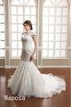Alta calidad por encargo cap manga sirena 2015 de cuello alto para obtener auténticas fotografías de hermosos vestidos de boda