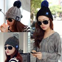 wholesale Roll-up Hem Bulb Pentagram Wool Knitted Hat Winter Women Cap Five-pointed Star Pompon Beanie Hat 18770