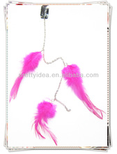 hot sale feather hair extension pink color dot feather for hair extension