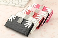 New design wallet card holder diamond leather case for iPhone 5 5S 5G