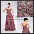 элегантный от- плечо богатый larying бисером розовый вечернее платье перо 2013