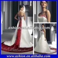 WE-1870 Popular off the shoulder neckline satin two tone wedding dress red and cream wedding dresses
