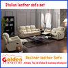 Good quality italian yellow leather recliner sofa EA90#