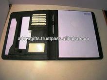 ADACF - 0217 genuine leather portfolios / cheap 2 pocket portfolios / expanding promotional leather file folders