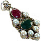 Exxotic fine crafted 925 sterling silver Emerald dyed, Ruby dyed and pe
