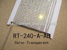 2.4MM grade-A stone clear rhinestone banding ,high quality stone chain for garment accessory(RT-240-A-AB)